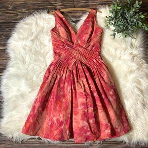 Monique Lhuillier Red Print Cocktail Dress